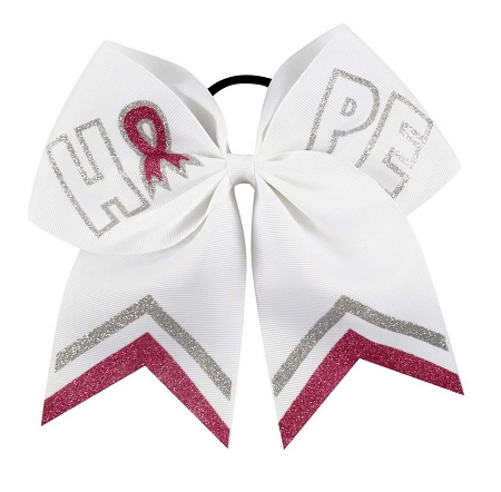 "NEW ""HOPE - BREAST CANCER Ribbon"" Cheer Hair Bow Pony Tail 3"" Girls Cheerleading Practice Games School Uniform Hairbow Awareness Event Pink Out Game"