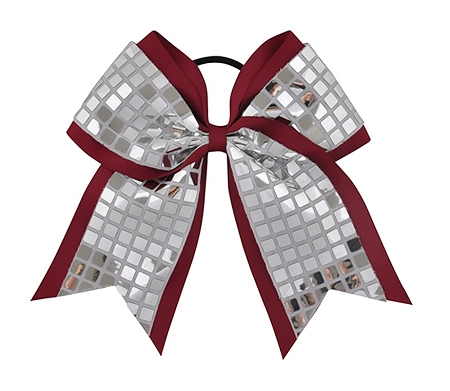 "New ""DISCO SQUARES Silver Burgundy"" Cheer Bow Pony Tail 3"" Ribbon Girls Hair Bows Cheerleading Dance Practice Football Games Competition Birthday"