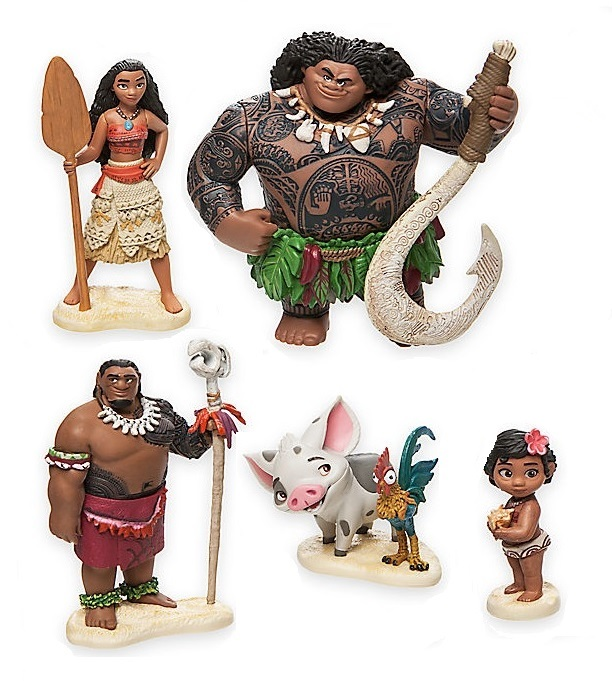 5pc Moana CAKE TOPPER Maui Hei Hei Pua 5 Figure Set Birthday Party Cupcakes Figurines Disney * FAST Shipping * Toy Doll Set