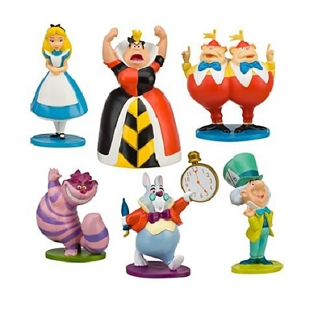 Alice in Wonderland CAKE TOPPER Cheshire Cat Queen of Hearts 6 Figure Set Birthday Party Cupcakes Figurines Disney * FAST Shipping * Toy Doll Set