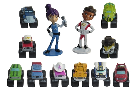 Blaze & Monster Machines CAKE TOPPER AJ Gabby Crusher Starla Zeg Stripes 12 Figure Set Birthday Party Cupcakes Figurines * Fast Shipping * Toy Doll Set