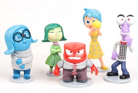 Inside Out CAKE TOPPER Joy Sadness Fear Disgust Anger 5 Figure Set Birthday Party Cupcakes Figurines Disney * FAST Shipping * Toy Doll Set