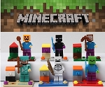 Minecraft Pixelated Gamer Block CAKE TOPPER 6 Figure Set (ASSEMBLED) Birthday Party Favors Cupcake Figurines * Fast Shipping * 98 pieces