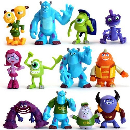 Monsters Inc CAKE TOPPER Sulley Mike Randall Monsters University 12 Figure Set Birthday Party Cupcakes Figurines Disney * FAST Shipping * Toy Doll Set