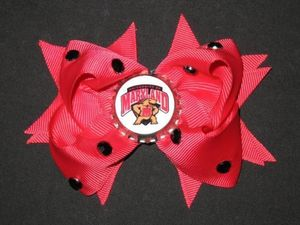 "NEW """"MARYLAND Terrapins"""" Terps UM Girls Ribbon Hair Bow Rhinestone Clip NCAA"