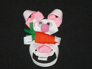 "NEW """"BUNNY & CARROT"""" Ribbon Sculpture Girls Hairbow Clip Clippie Easter Holiday"