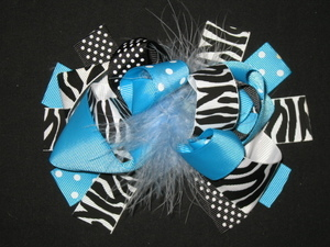 "NEW """"BLACK BLUE ZEBRA"""" Fur Hairbow Alligator Clips Girls Ribbon Bows 5.5 Inches"