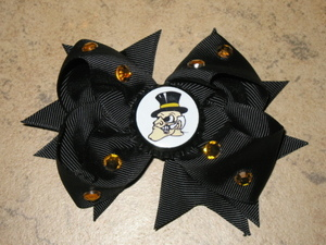 "NEW """"WAKE FOREST Demon Deacons"""" NC Girls Ribbon Hair Bow Rhinestone Clip NCAA"