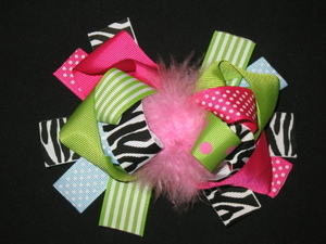 "NEW """"MULTI LIME ZEBRA"""" Fur Hairbow Alligator Clips Girls Ribbon Bows 5.5 Inches"
