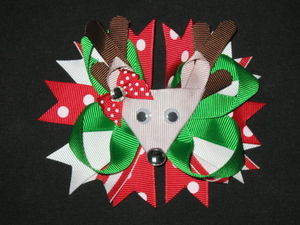 "NEW """"REINDEER"""" Polka-Dot Alligator Clips Girls Ribbon Hair Bows Christmas Day"