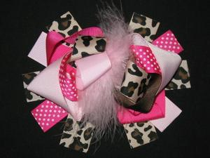"NEW """"PINK LEOPARD Brown"""" Fur Hairbow Alligator Clips Girls Ribbon Bows 5.5 Inch"
