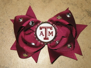 "NEW """"TEXAS A&M Aggies"""" University Girls Ribbon Hair Bow Rhinestone Clip NCAA"