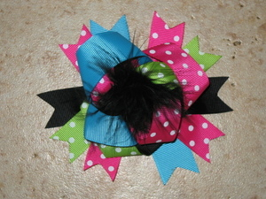 "NEW """"Pink Blue Black"""" Fur Hairbow Alligator Clips Girls Ribbon Bows 4.5 Inches"