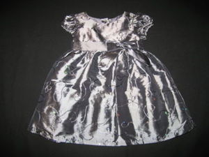 "NEW """"SWIRLING SEQUINS"""" Silver Christmas Dress Girls 18m Holiday Pageant Clothes"