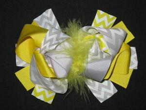 "NEW """"Yellow & Gray CHEVRON"""" Fur Hairbow Alligator Clips Girls Ribbon Bows 5.5 in"