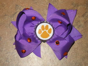 "NEW """"CLEMSON Tigers"""" South Carolina Girls Ribbon Hairbow Bow Rhinestone NCAA"
