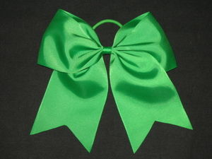"NEW """"GREEN"""" Cheer Bow Pony Tail 3 Inch Ribbon Girls Hair Bows Cheerleading"