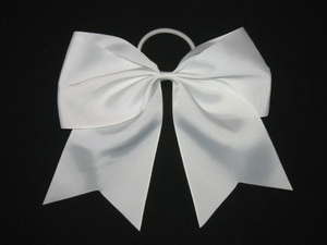 "NEW """"WHITE"""" Cheer Bow Pony Tail 3 Inch Ribbon Girls Hair Bows Cheerleading"