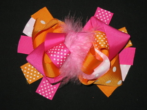 "NEW """"ORANGE & PINK DOT"""" Fur Hairbow Alligator Clips Girls Ribbon Bows 5.5 Inches"