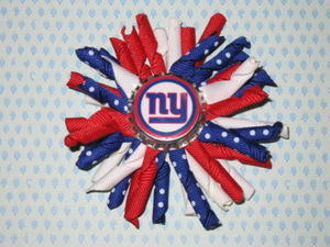 "NEW """"NEW YORK GIANTS"""" Professional Girls Korker Ribbon Hairbow Bow Clip NFL"