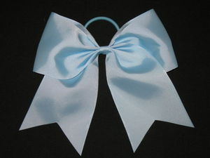 "NEW """"LIGHT BLUE"""" Cheer Bow Pony Tail 3 Inch Ribbon Girls Hair Bows Cheerleading"
