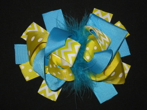 "NEW """"Yellow & Blue CHEVRON"""" Fur Hairbow Alligator Clips Girls Ribbon Bows 5.5 in"