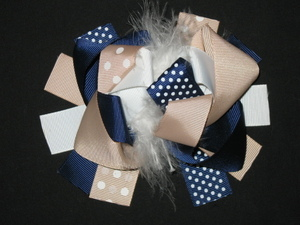 "NEW """"Navy & Khaki"""" Fur Hairbow Alligator Clip Girls Ribbon Bows Clip 5.5 Inches"