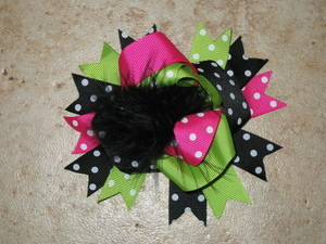 "NEW """"Lime Pink Black"""" Fur Hairbow Alligator Clips Girls Ribbon Bows 4.5 Inches"