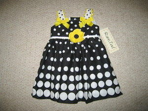 "NEW """"Midnight Circle Bows"""" Dress Girls Clothes 9m Spring Summer Boutique Baby"