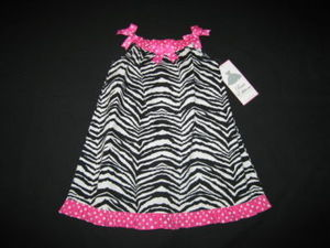 "NEW """"ZEBRA BOWS"""" Boutique Dress Girls Clothes 24m Spring Summer Rare Editions"