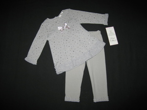 "NEW """"DAZZLING SILVER"""" Holiday Pants Girls 6-9m Fall Winter Clothes Rare Editions"