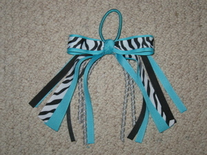 "NEW """"TEAL ZEBRA"""" Pony Tail Bows Girls Ribbon Hair Bows Cheer Streamers"