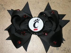 "NEW """"CINCINNATI BEARCATS"""" University Girls Ribbon Hairbow Bow Rhinestone NCAA"