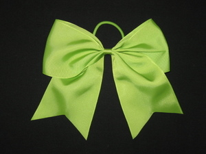 "NEW """"LIME GREEN"""" Cheer Bow Pony Tail 3 Inch Ribbon Girls Hair Bows Cheerleading"