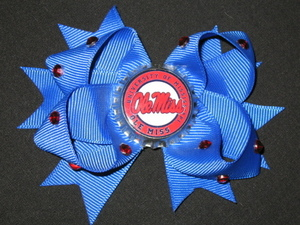"NEW """"OLE MISS Rebels"""" Mississippi Girls Ribbon Hair Bow Rhinestone Clip NCAA"