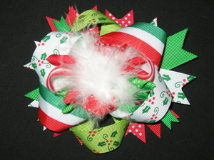 "NEW """"HOLLY & STRIPES"""" Fur Christmas Hairbow Alligator Clips Girls Ribbon Bows"