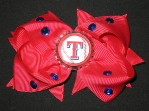 "NEW """"TEXAS RANGERS"""" Pro Baseball Girls Ribbon Hair Bow Rhinestone Clip MLB"