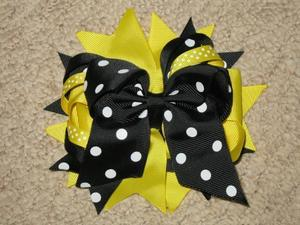 "NEW """"BLACK & YELLOW DOT"""" Double Layer Hair Bows Clips Girls Ribbon Bow 5 Inches"
