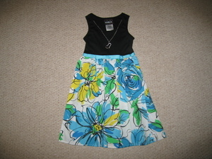 "NEW """"BLACK ABSTRACT ROSE"""" Dress & Necklace Girls 12 Spring Summer Clothes Kids"