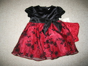 "NEW """"BURGUNDY VELVET ROSE"""" Dress Girls Baby 12m Christmas Boutique Clothes"
