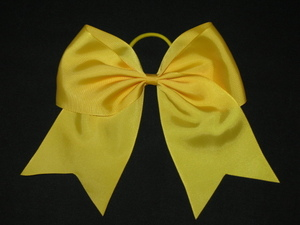"NEW """"GOLD YELLOW"""" Cheer Bow Pony Tail 3 Inch Ribbon Girls Hair Bows Cheerleading"