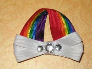 "NEW """"OVER THE RAINBOW"""" Girls Ribbon Hairbow Clip Bow Sculpture Clouds Sky Colors"