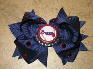 "NEW """"ATLANTA BRAVES"""" Pro Baseball Girls Ribbon Hair Bow Rhinestone Clip MLB"