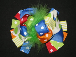 "NEW """"CIRCUS POLKA-DOT"""" Fur Hairbow Alligator Clips Girls Ribbon Bows 5.5 Inches"
