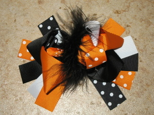 "NEW """"ORANGE & BLACK DOT"""" Fur Hairbow Alligator Clips Girls Ribbon Bows 5 Inches"