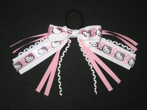 "NEW """"HELLO KITTY"""" Pony Tail Birthday PINK Girls Ribbon Hair Bows Cheer"
