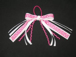 "NEW """"PINK VINE LEAVES"""" Pony Tail Girls Ribbon Hair Bows Cheer Streamers"