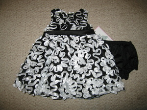 "NEW """"BLACK & WHITE BONAZ"""" Easter Dress Girls 12m Spring Summer Boutique Clothes"