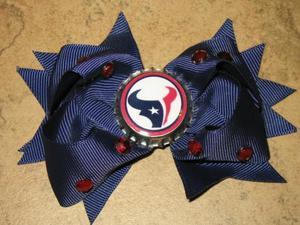 "NEW /""TENNESSEE TITANS/"" Pro Football Girls Ribbon Hair Bow Rhinestone Clip NFL"