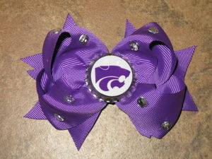 "NEW """"KANSAS STATE Wildcats"""" University Girls Ribbon Hair Bow Rhinestone NCAA"
